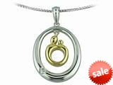 Original Mother and Child® Sterling Silver Oval Pendant and 14kt Yellow Gold Charm with Diamond by Janel Russell