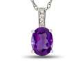 LALI Jewels® 14kt White Gold Amethyst Oval Pendant