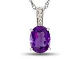 LALI Classics 14kt White Gold Amethyst Oval Pendant style: LALI1013