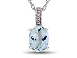 LALI Jewels® 14kt White Gold Aquamarine Oval Pendant style: LALI1014