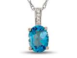 LALI Jewels® 14kt White Gold Swiss Blue Topaz Oval Pendant style: LALI1015