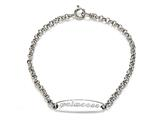 "Sterling Silver Children ID Bracelet ""Princess"" engraved style: 503329"