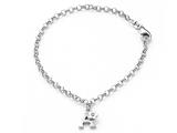 "925 Sterling Silver Childrens 6.5 Inch Letter ""A"" Charm Bracelet with Diamond"