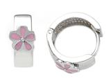 925 Sterling Silver Childrens Hoop Earrings with Pink Flower style: 503390