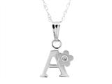 "925 Sterling Silver Childrens Letter ""A"" Charm Pendant with Diamond on 14 Inch Chain style: 503392A"