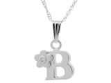 "925 Sterling Silver Childrens Letter ""B"" Charm Pendant with Diamond on 14 Inch Chain style: 503392B"