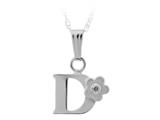 "925 Sterling Silver Childrens Letter ""D"" Charm Pendant with Diamond on 14 Inch Chain style: 503392D"