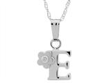 "925 Sterling Silver Childrens Letter ""E"" Charm Pendant with Diamond on 14 Inch Chain style: 503392E"