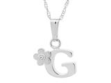 "925 Sterling Silver Childrens Letter ""G"" Charm Pendant with Diamond on 14 Inch Chain style: 503392G"