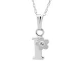 "925 Sterling Silver Childrens Letter ""I"" Charm Pendant with Diamond on 14 Inch Chain style: 503392I"