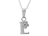 "925 Sterling Silver Childrens Letter ""L"" Charm Pendant with Diamond on 14 Inch Chain style: 503392L"