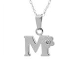 "925 Sterling Silver Childrens Letter ""M"" Charm Pendant with Diamond on 14 Inch Chain style: 503392M"