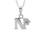 "925 Sterling Silver Childrens Letter ""N"" Charm Pendant with Diamond on 14 Inch Chain style: 503392N"