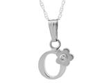 "925 Sterling Silver Childrens Letter ""O"" Charm Pendant with Diamond on 14 Inch Chain style: 503392O"