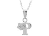 "925 Sterling Silver Childrens Letter ""O"" Charm Pendant with Diamond on 14 Inch Chain style: 503392P"