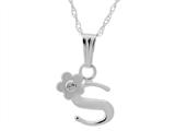 "925 Sterling Silver Childrens Letter ""S"" Charm Pendant with Diamond on 14 Inch Chain style: 503392S"