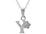 "925 Sterling Silver Childrens Letter ""Y"" Charm Pendant with Diamond on 14 Inch Chain style: 503392Y"