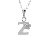 "925 Sterling Silver Childrens Letter ""Z"" Charm Pendant with Diamond on 14 Inch Chain style: 503392Z"