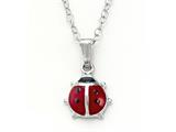 925 Sterling Silver Childrens Red Lady Bug Pendant on 14 Inch Chain