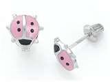 925 Sterling Silver Childrens Pink and Black Ladybug Earrings style: 503409