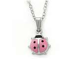 925 Sterling Silver Childrens Pink Lady Bug Pendant on 14 Inch Chain style: 503414
