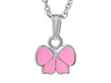 925 Sterling Silver Childrens Pink Ribbon Pendant on 14 Inch Chain