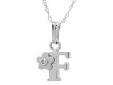 "925 Sterling Silver Childrens Letter ""F"" Charm Pendant with Diamond on 14 Inch Chain style: 503419"