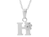 "925 Sterling Silver Childrens Letter ""H"" Charm Pendant with Diamond on 14 Inch Chain style: 503421"