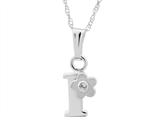 "925 Sterling Silver Childrens Letter ""I"" Charm Pendant with Diamond on 14 Inch Chain style: 503422"
