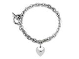 7 inch Sterling Silver Heart Charm Toggle Bracelet
