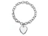 Sterling Silver 8 Inch Heart Charm Bracelet