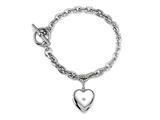 Sterling Silver Heart Charm Locket Toggle Bracelet style: 50DB6