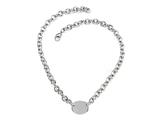 "Sterling Silver 16"" Oval Charm Necklace"
