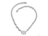 "Sterling Silver 18"" Oval Charm Necklace"