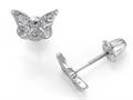 "925 Sterling Silver Childrens Butterfly Earrings with White CZ""s"