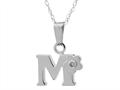 "925 Sterling Silver Childrens Letter ""M"" Charm Pendant with Diamond on 14 Inch Chain"