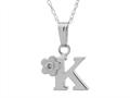 "925 Sterling Silver Childrens Letter ""K"" Charm Pendant with Diamond on 14 Inch Chain"
