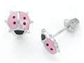 925 Sterling Silver Childrens Pink and Black Ladybug Earrings