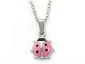 925 Sterling Silver Childrens Pink Lady Bug Pendant on 14 Inch Chain