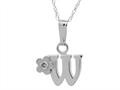 "925 Sterling Silver Childrens Letter ""W"" Charm Pendant with Diamond on 14 Inch Chain"