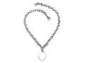 "Sterling Silver 16"" Heart Charm Necklace"