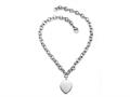 "Sterling Silver 18"" Heart Drop Charm Necklace"