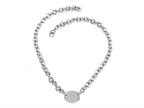 Sterling Silver 16 inches Oval Charm Necklace Style number: 50DB901
