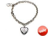 Sterling Silver Children Heart Charm Bracelet with Pink Sapphire