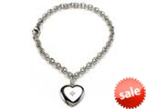 Sterling Silver Children Heart Charm Bracelet with Diamond