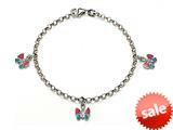Sterling Silver Children Butterfly Charm Bracelet style: 503349