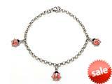 Sterling Silver Children Pink Ladybug Charm Bracelet style: 503351