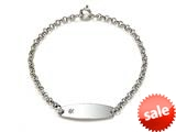 Sterling Silver Children ID Bracelet with Diamond style: 503361