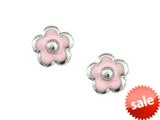 925 Sterling Silver Childrens Pink Flower Earrings