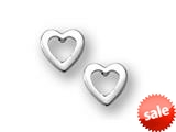 925 Sterling Silver Childrens Open Heart Earrings